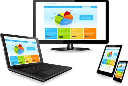 複数のデバイス上の web サイト テンプレート  イラスト・ベクター素材