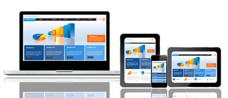 Responsive website template op meerdere apparaten Stock Illustratie