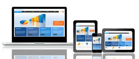 Responsive Website-Templates auf mehreren Geräten Standard-Bild - 23322871