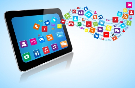 Touchscreen modern Tablet PC with cloud of application