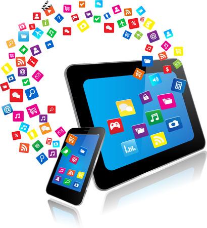 internet movil: Tablet PC y Smart Phone con aplicaciones Vectores
