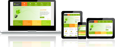 electronic devices: Responsive website template on multiple devices