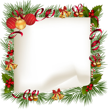 Christmas background with decoration and paper.Christmas frame with holly and ribbon Illustration
