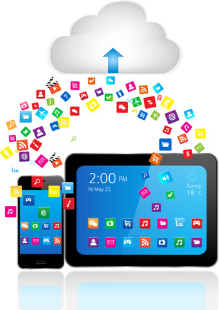 Tablet PC and Smart Phone with apps and Cloud Computing  Vector