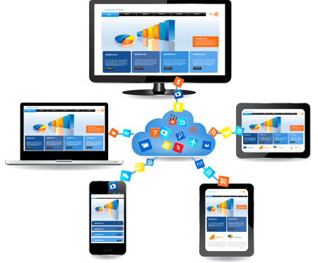 Cloud computing concept design  Devices connected to the  cloud 版權商用圖片 - 24366297