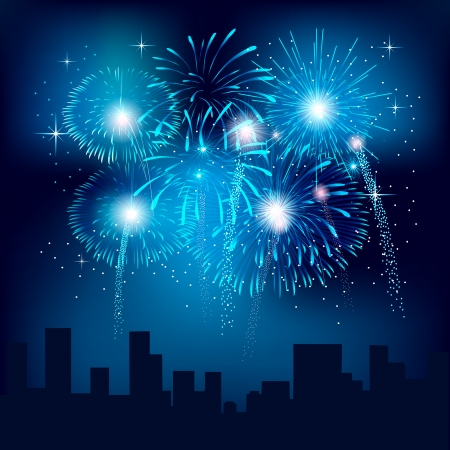 Background with fireworks  Vector