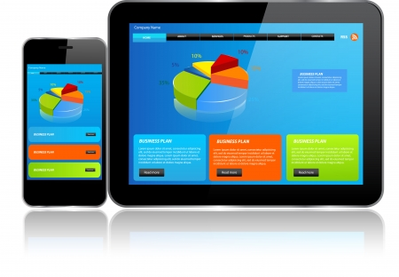 Tablet and Smartphone Responsive website template on multiple devices 版權商用圖片 - 24595441