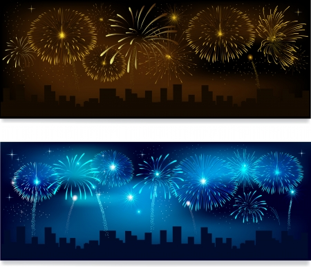 Header or banner set with fireworks Vector