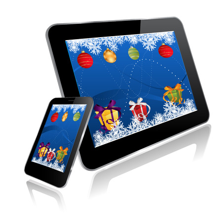 Tablet PC and Smart Phone with Christmas design Vector