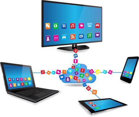 クラウド ・ コンピューティングのコンセプト デザインがクラウドに接続されたデバイス