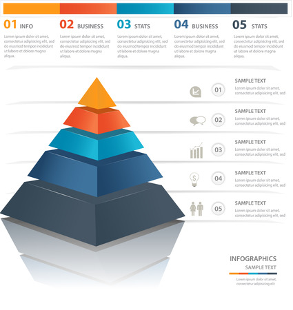 Colorful  pyramid chart. Useful for infographics and presentations.