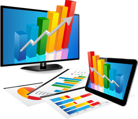 Smart Tv and Tablet screen with 3d graph and a paper with statistic charts
