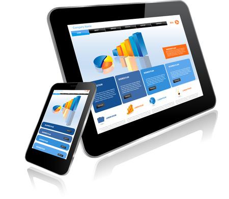 여러 장치에 태블릿 및 Smartphone.Responsive 웹 사이트 템플릿
