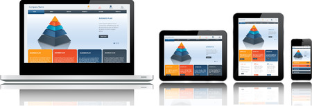 telefonos movil: Plantilla de p�gina web Responsive en varios dispositivos Vectores