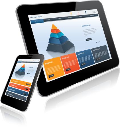 タブレットとスマート フォン。複数のデバイスに応答性の高いウェブサイト テンプレート  イラスト・ベクター素材