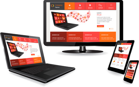 display size: Responsive website template on multiple devices