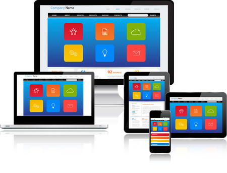 複数のデバイスに応答性の高いウェブサイト テンプレート 写真素材 - 25315710