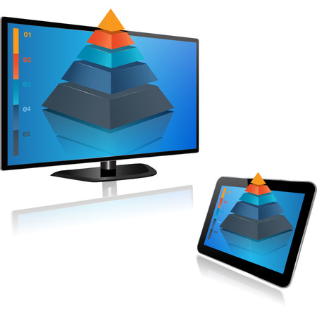 Smart Tv and Tablet screen with 3d graph Vector