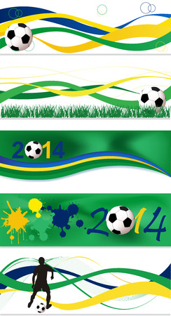 Collection of abstract football banner set Illustration