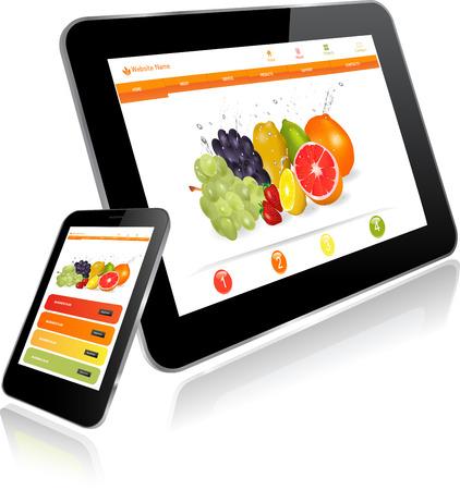タブレットと複数のデバイス上のウェブサイト テンプレートを持つスマート フォン