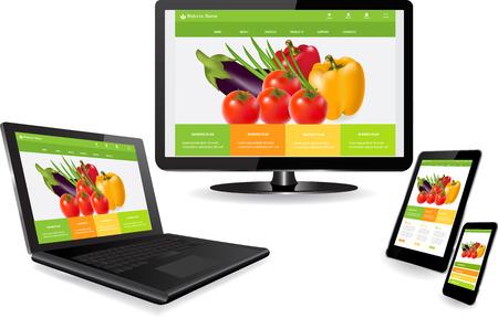Responsive Website-Templates auf mehreren Geräten Standard-Bild - 26040322