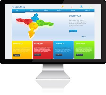 Responsive website template on Modern Computer Stock Vector - 26036733