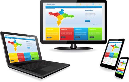 複数のデバイスに応答性の高いウェブサイト テンプレート  イラスト・ベクター素材
