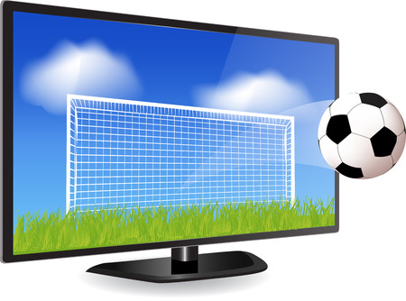 Soccer ball in motion flying off Smart Tv screen  Vector