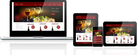 Responsive website template on multiple devices Stok Fotoğraf - 26582123