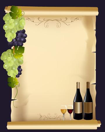ワイン グラスとボトルでエレガントな飲み物メニュー カード