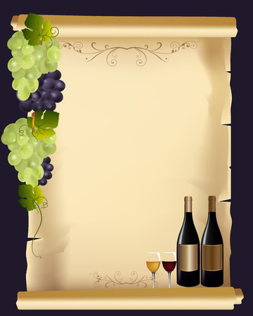 Elegant Drink menu card with wine glass and bottle
