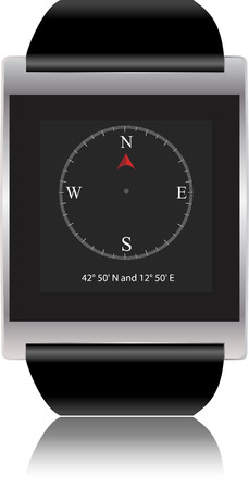 Smartwatch with compass  Vector