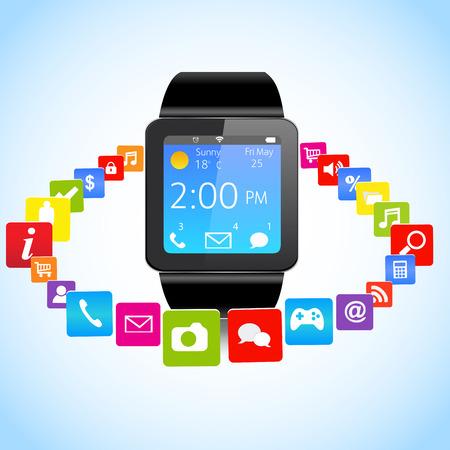 共有アプリケーションのアイコンがカラフルなスマートな時計