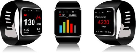 ディスプレイ上の健康アプリのアイコンと黒タッチ スクリーン スマートウォッチ
