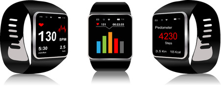 Black Touchscreen Smartwatch with health app icon  on display