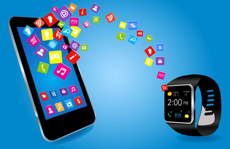Smartwatch and Smart phone with colorful Application Icons sharing Vector
