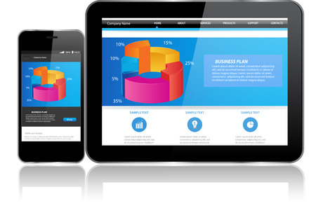 Tablet and Smart phone.Responsive website template on multiple devices 向量圖像