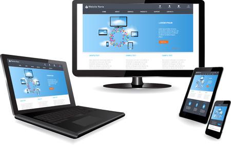 Responsive Website-Templates auf mehreren Geräten Standard-Bild - 27458166