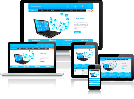 design symbols: Responsive website template on multiple devices
