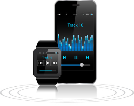 Black Touchscreen Smartwatch and Smart phone with music app icon on the screen