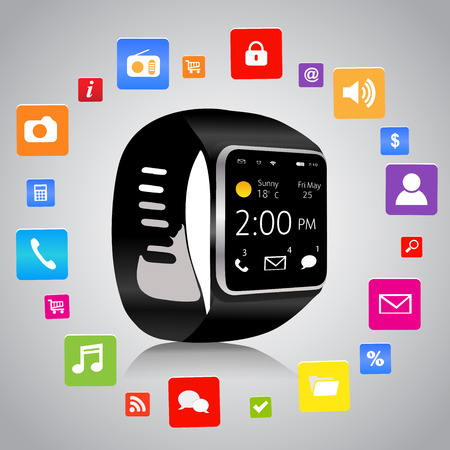 Smart watch with colorful Application Icons sharing  Vector