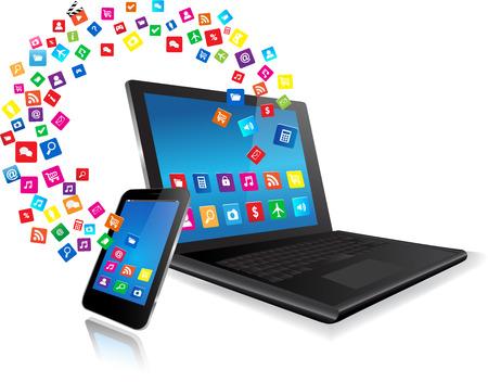 Aplicación que sale del portátil y del teléfono inteligente sobre fondo blanco