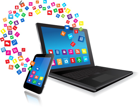 digital download: Application coming out of  laptop and from Smart Phone on white background