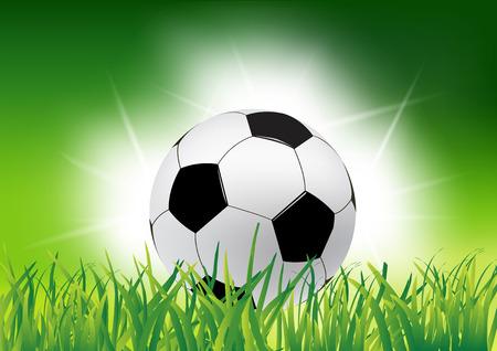 Soccer ball on grass Green soccer background illustration Çizim
