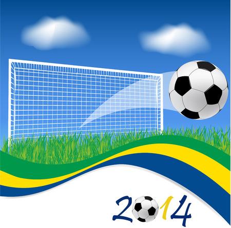 Football goal and soccer ball on grass