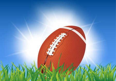 American football ball on grass  American football background illustration Vector