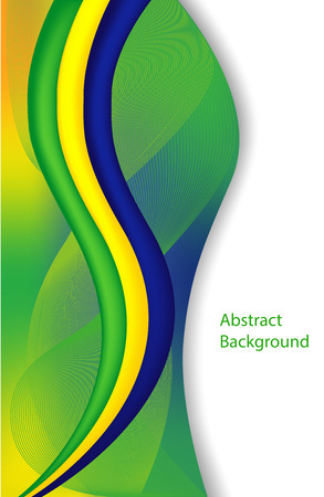 Abstract background with green wave.  Brazil flag concept  Vector
