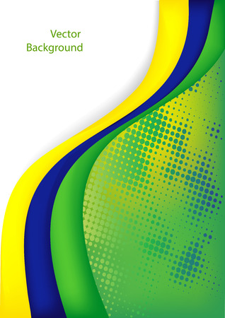 world cup: Abstract background with green wave   Brazil flag concept