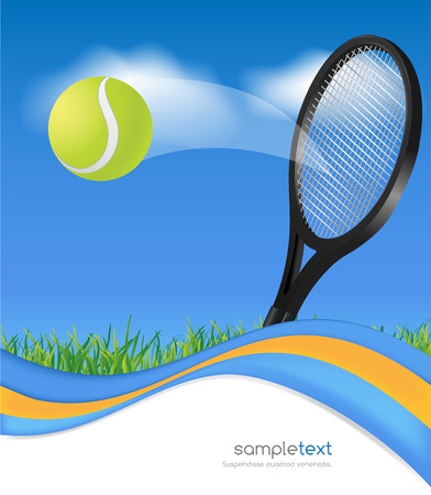 tenis: Tennis ball and racket on blue wave background