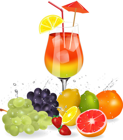 tropical drink: Colorful orange and red cocktail with fresh fruit